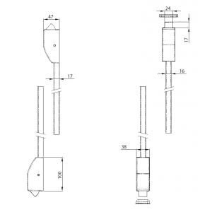 WALA Gałko-klamka do drzwi, krótki szyld, srebrny RAL9006