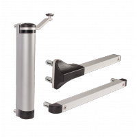 Hydrauliczny samozamykacz do furtki LION z zawiasami 90° i 180° srebrny
