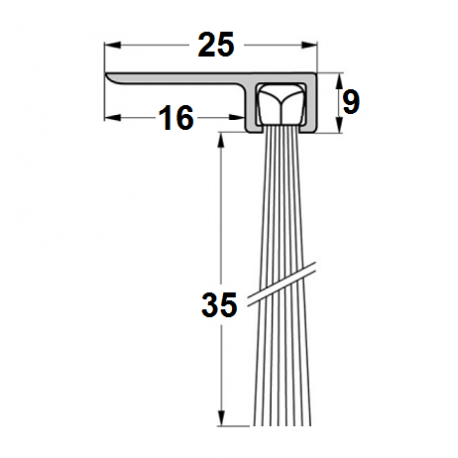 Uszczelka szczotkowa F25-35mm, długość 1m