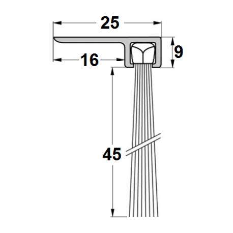 Uszczelka szczotkowa F25-45mm, długość 1m