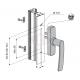 Klamka okienna z pojedynczym widłem rozstaw 84-92-98-104mm FAPIM 0530B