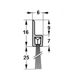 Szczotka uszczelniająca prosta, L-1000mm H-25mm, kpl