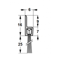 Szczotka uszczelniająca, prosta, L-1000mm H-25mm