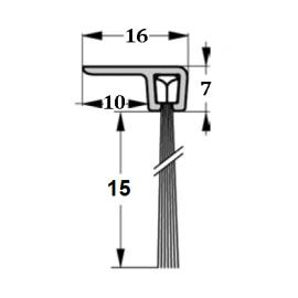 Szczotka uszczelniająca kątowa, L-1000mm H-15mm, kpl