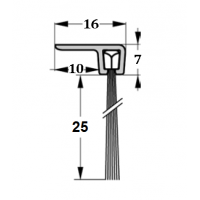 Szczotka uszczelniająca kątowa, L-1000mm H-25mm, kpl