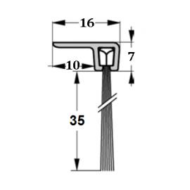 Szczotka uszczelniająca kątowa, L-1000mm H-35mm, kpl
