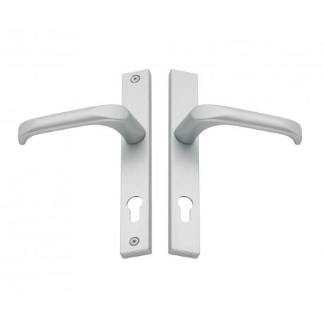 Klamka drzwiowa na długim szyldzie, rozstaw 92 mm, chrom matowy, lewa
